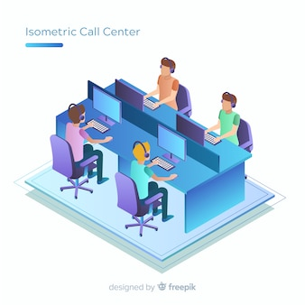 Call center moderno en diseño isométrico