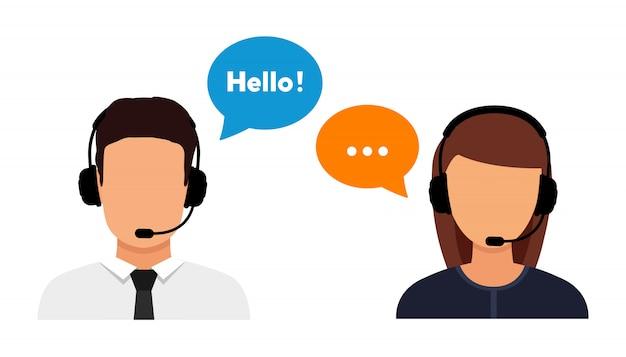 Call center operator avatar flat