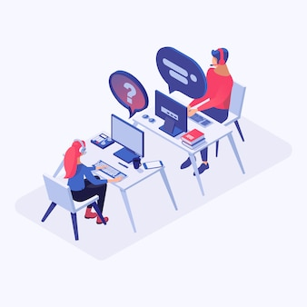 Call center, soporte en línea, operadores de línea directa, gerentes consultores de personajes 3d