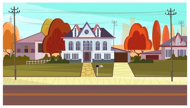 Calle con casas rurales y arboles otoñales.
