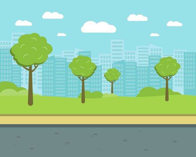 Calle de la ciudad con árboles y edificios de gran altura. ilustración de vector plano de parque.