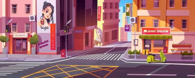 Calle de la ciudad con casas y scooter en carretera