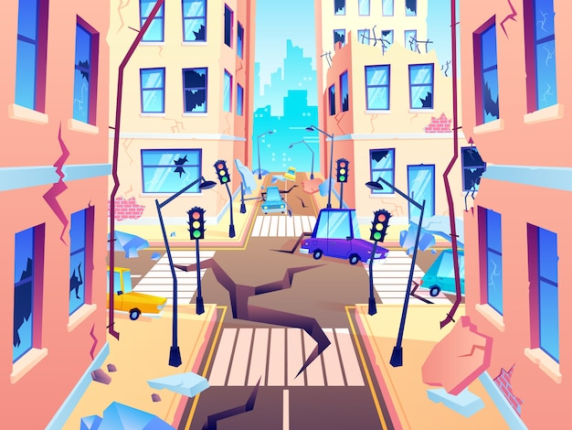 Calle de la ciudad dañada. daño de terremoto, cataclismo daña la destrucción de la carretera y destruye la ilustración de dibujos animados de cruce urbano