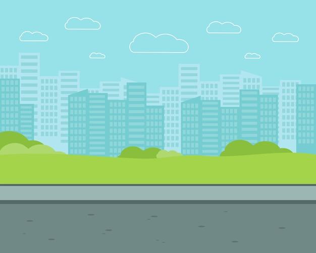 Calle de la ciudad con edificios de gran altura. ilustración de vector plano de parque.