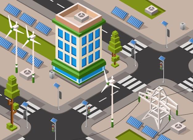Calle de la ciudad de energía solar y eólica.