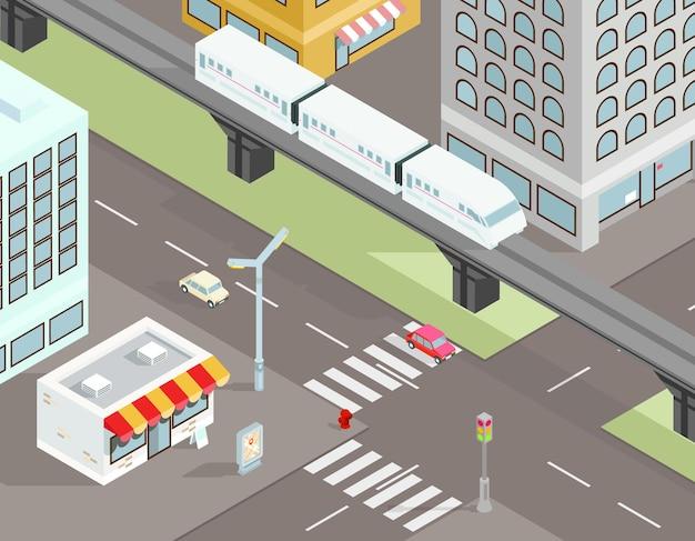 Calle de la ciudad isométrica con ilustración de transporte