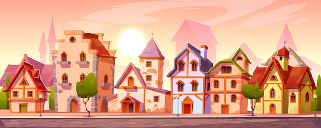 Calle de la ciudad medieval con viejos edificios europeos