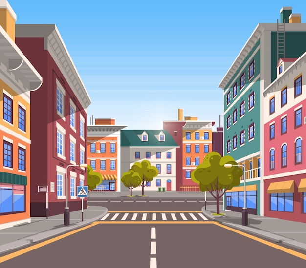 Calle de la ciudad moderna, aspecto realista de pueblo tranquilo