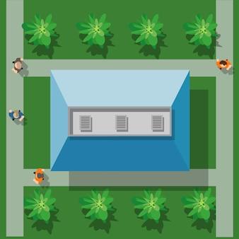 Calle de la ciudad con los tejados