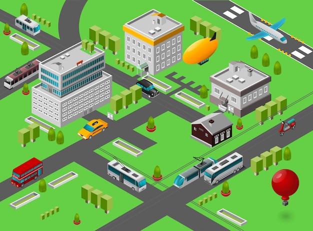 Calle isométrica de la ciudad