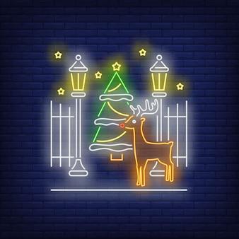 Calle navidad letrero de neón