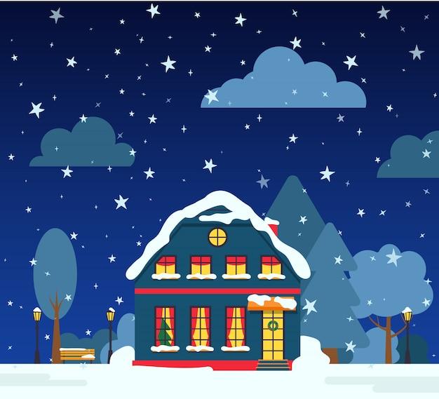 Calle de noche de invierno con casa, árboles de nieve, nubes de arbusto, tarjeta de dibujos animados plana. feliz navidad y feliz año nuevo banner de vacaciones. paisaje suburbano