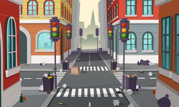 Calle sucia con basura por todas partes, fondo del vector. cruce de la ciudad vacía con semáforos