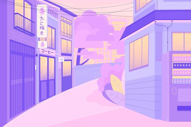 Calle tradicional asiática en colores pastel