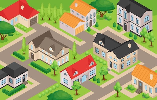 Calles con modernas casas privadas, patios y garajes 3d isométrico