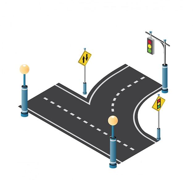 Calzada de la ciudad calle con carretera