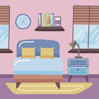 Cama de casa con objetos de decoración en el dormitorio.