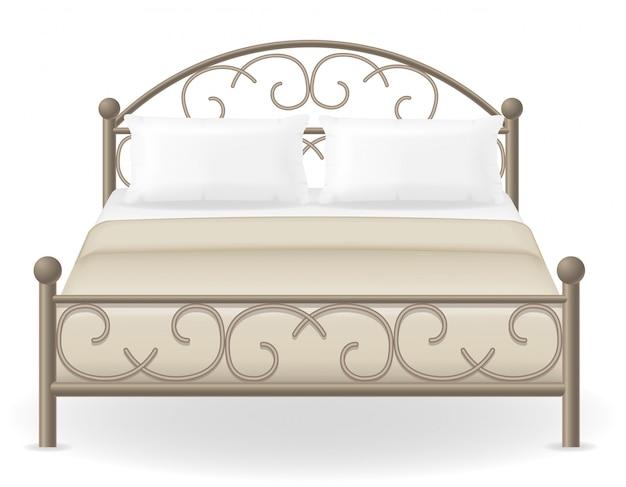 Cama doble muebles ilustración vectorial
