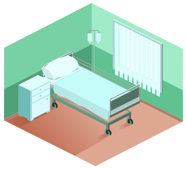 Cama de hospital, mesita de noche, cuentagotas. equipo medico isometrico