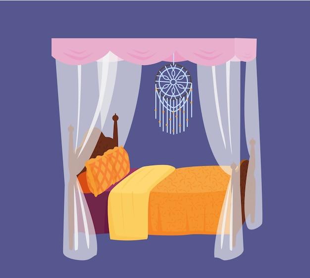 Cama de madera con dosel con almohadas de colores y atrapasueños. elemento interior.