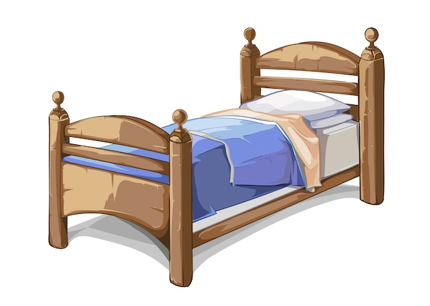 Cama de madera en estilo de dibujos animados. interior de muebles, dormitorio cómodo. ilustración vectorial