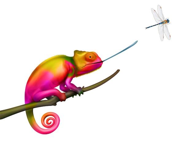 Camaleón cazando libélula