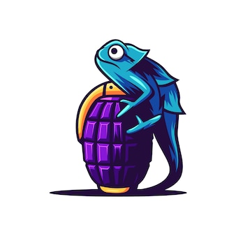 Camaleón coloful con ilustración de granada