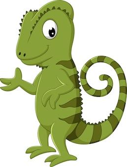 Camaleón de dibujos animados posando