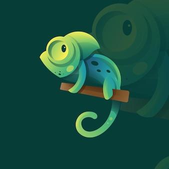 Camaleón para logotipo de icono e ilustración