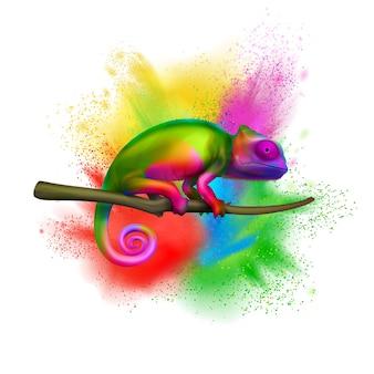 Camaleón multicolor brillante en la rama de un árbol