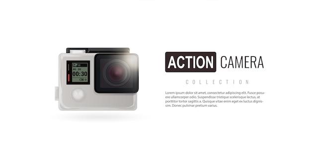 Cámara de acción cámara cámara aislada isométrica en fondo blanco go pro