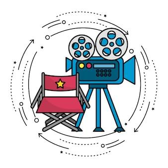 Cámara de cine con escena de carrete y asiento del director