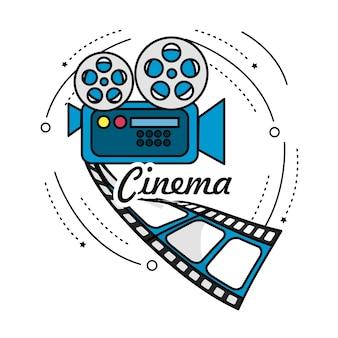 Cámara de cine con escena de carrete y tira de película