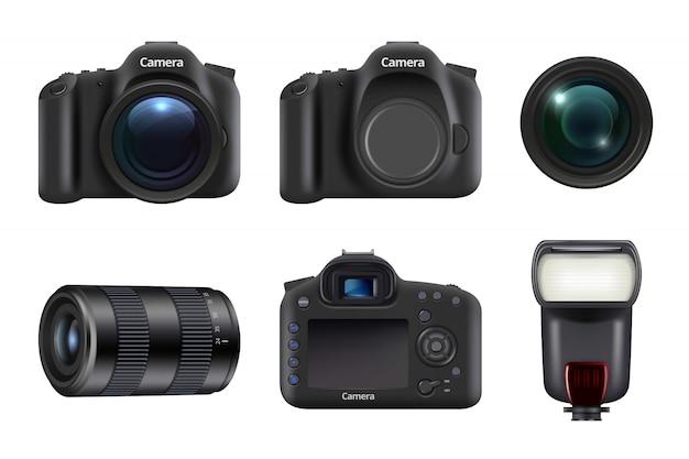 Cámara digital. estudio fotográfico, equipo profesional, lente de cámara réflex digital y flashes realistas