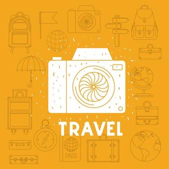 Cámara fotográfica con iconos de viaje conjunto