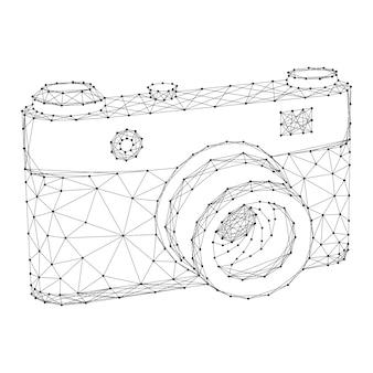 Cámara fotográfica de puntos y líneas negras poligonales futuristas abstractos.