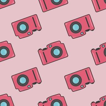 Cámara de fotos colorido de patrones sin fisuras