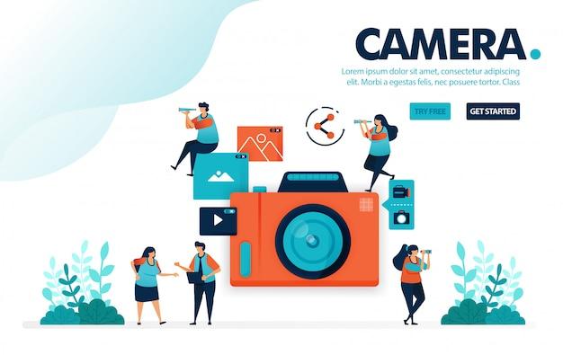 Cámara, la gente toma fotos con la cámara, comparte videos y fotos
