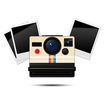Cámara instantánea retro y marcos de fotos en blanco, ilustración vectorial