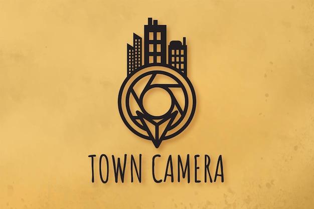 Cámara de lente y diseños de logotipos de la ciudad