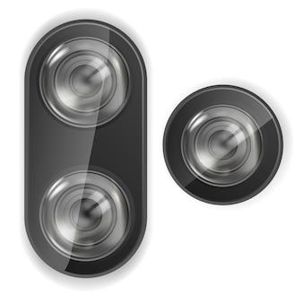 Cámara de lente realista. cámara de lente de teléfono inteligente. vector.