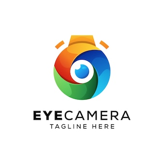 Cámara de ojos coloridos, plantilla de logotipo de fotografía