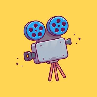 Cámara de película con rollo de película carrete icono ilustración. concepto de icono de cine de película aislado. estilo plano de dibujos animados
