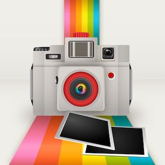 Cámara retro con marcos de foto