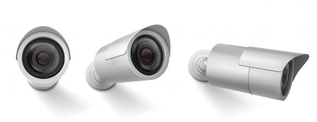 Cámara de seguridad en diferentes vistas. vector conjunto realista de cámara de circuito cerrado de televisión, sistema de observación, control de video de seguridad.