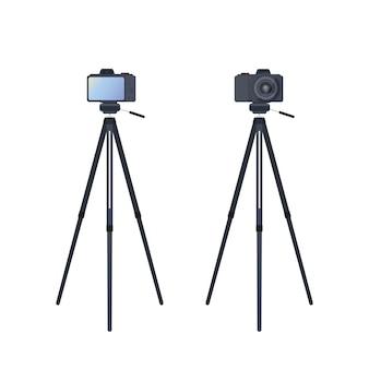 Cámara en un trípode aislado. la cámara está montada en una vista frontal y trasera del trípode. vector.