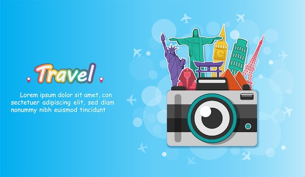 La cámara viaja alrededor del mundo.