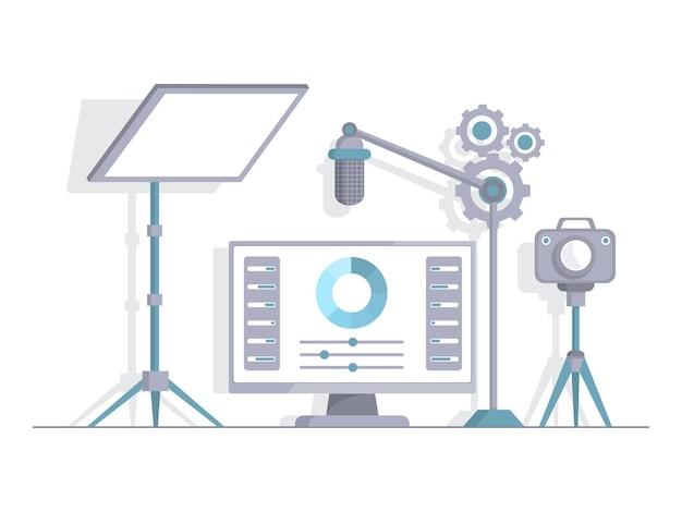 Cámara de video de pantalla de luz de ilustración plana de vector de estudio de grabación para