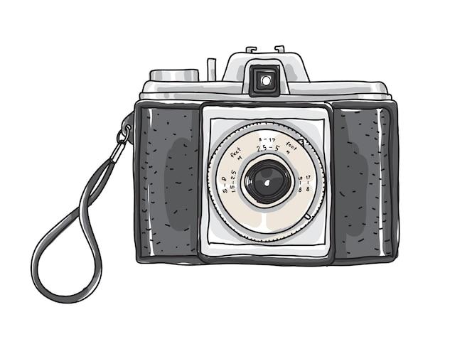 Cámara vintage mano dibujado vector arte ilustración