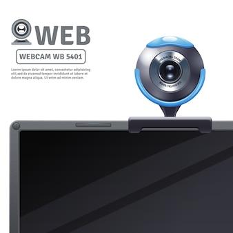 Cámara web fija en la computadora o computadora portátil con datos del modelo